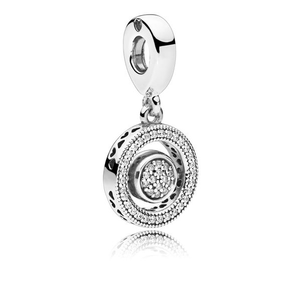 PANDORA logo spinning dangle in sterling silver with 14 pave-set  and 30 bead-set clear CZ and embossed heart detail Sanders Diamond Jewelers Pasadena, MD