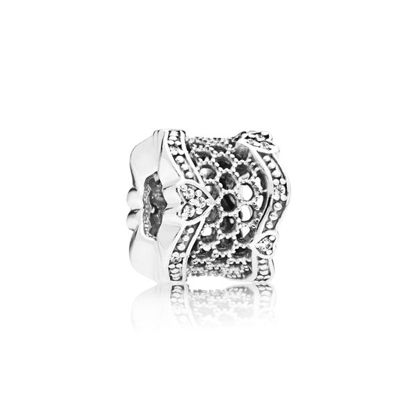 Pandora Lace spacer in sterling silver with 20 micro and 4 bead-set clear CZ Sanders Diamond Jewelers Pasadena, MD