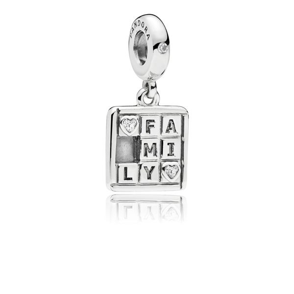 Pandora Family dangle in sterling silver with 2 bezel-set heart-shaped and 1 flush-set clear CZ and engraving