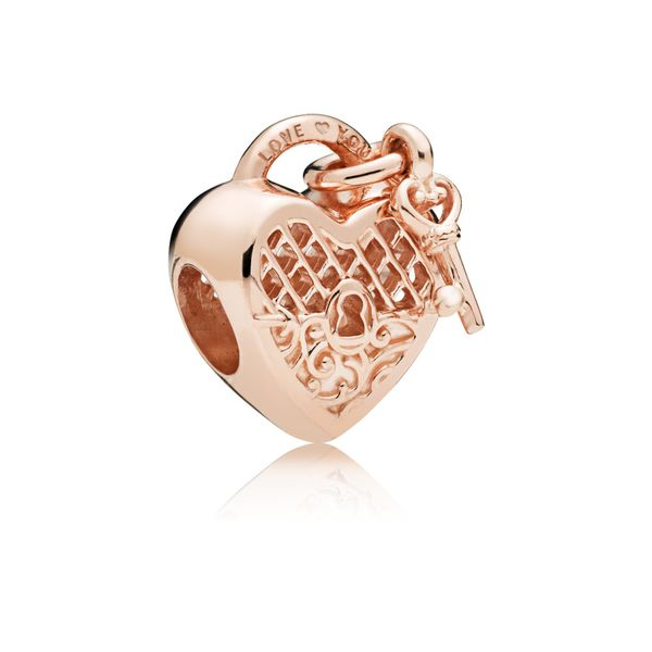 Pandora Rose Heart padlock and key charm with engraving