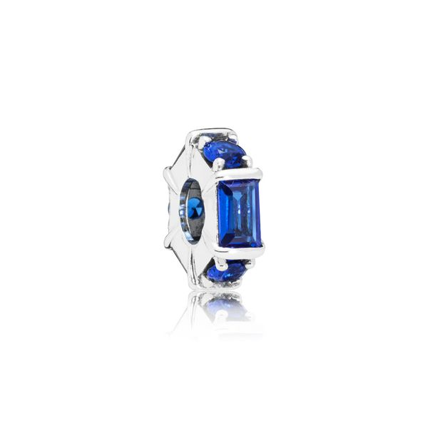 Pandora Sterling Silver Ice cube spacer with 3 bar-set baguette-cut sea blue crystals and 3 claw-set sea blue crystals Sanders Diamond Jewelers Pasadena, MD