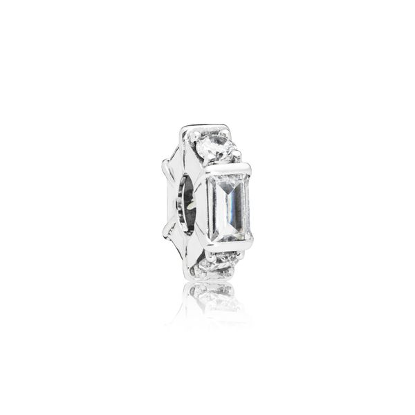 Pandora Ice cube spacer in sterling silver with 3 bar-set baguette-cut clear CZ and 3 claw-set clear CZ Sanders Diamond Jewelers Pasadena, MD