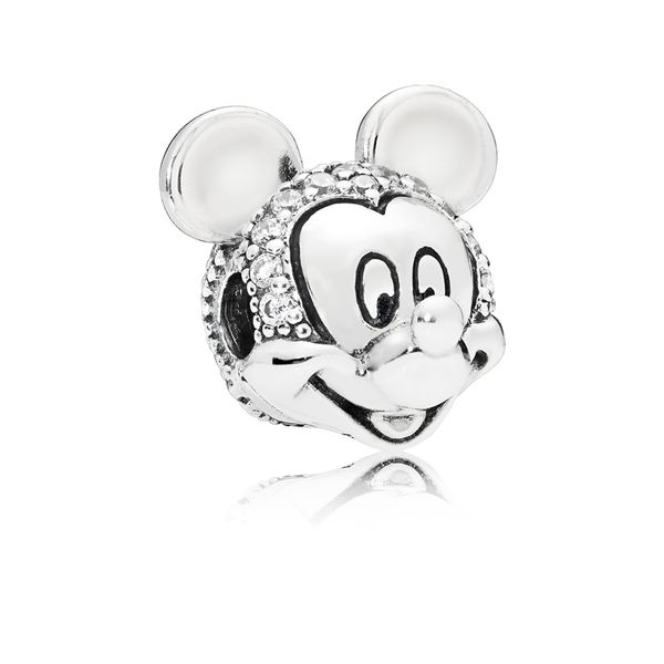 Pandora Disney Mickey clip in sterling silver with 56 bead-set clear CZ Sanders Diamond Jewelers Pasadena, MD