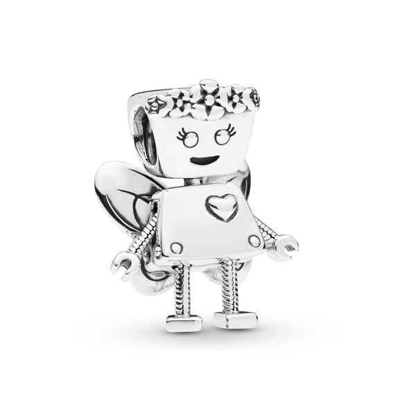 Pandora Robot girl with flowers and wings charm in sterling silver Sanders Diamond Jewelers Pasadena, MD