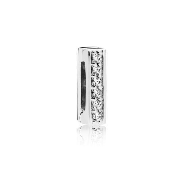 Pandora Reflexions Clip Charm In Sterling Silver With 6 Bead-Set Clear Cz Sanders Diamond Jewelers Pasadena, MD
