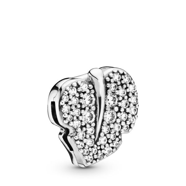 Pandora Reflexions Leaf sterling silver clip charm with clear CZ Sanders Diamond Jewelers Pasadena, MD