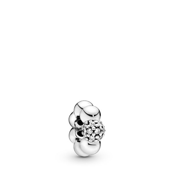 Pandora Sterling silver Modern Lovepods spacer with clear CZ Sanders Diamond Jewelers Pasadena, MD