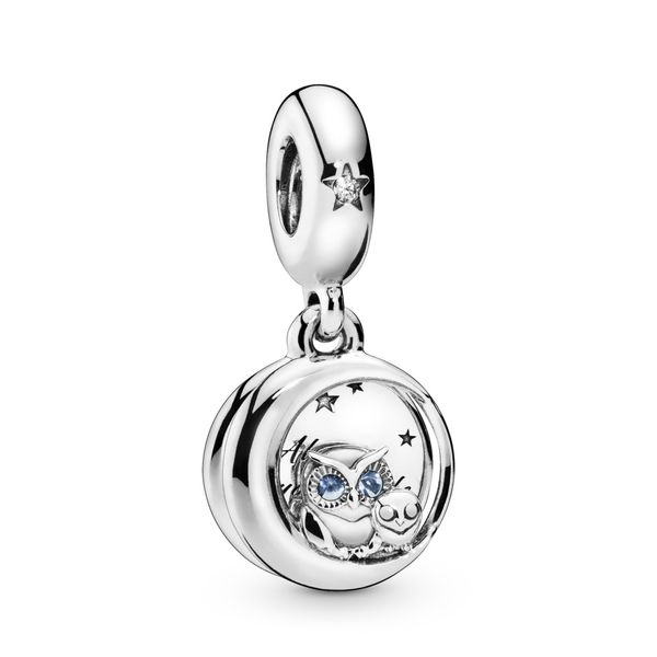 Pandora Owl sterling silver dangle with bright cobalt blue crystal and clear CZ Sanders Diamond Jewelers Pasadena, MD