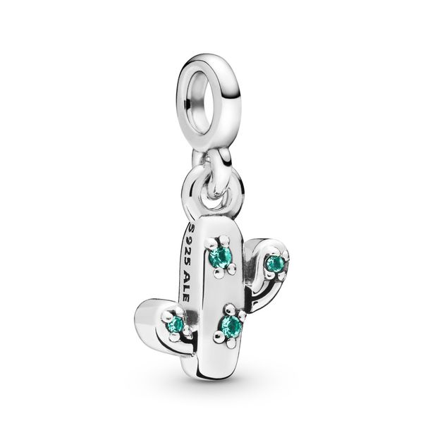Pandora Me Collection Cactus sterling silver dangle charm with royal green crystal Sanders Diamond Jewelers Pasadena, MD