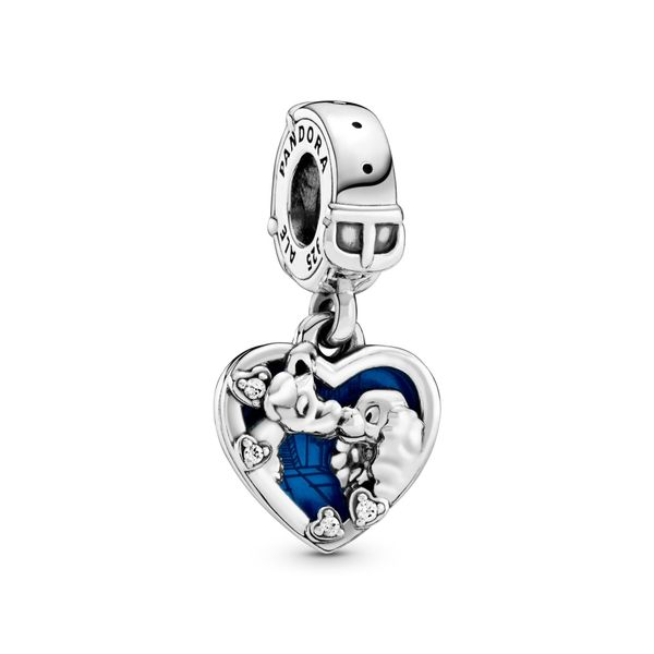 Pandora Disney Lady and the Tramp sterling silver dangle with clear CZ and shimmering blue enamel Sanders Diamond Jewelers Pasadena, MD