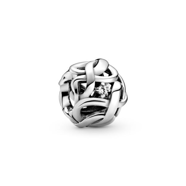 Pandora Infinity sterling silver charm with clear CZ Sanders Diamond Jewelers Pasadena, MD