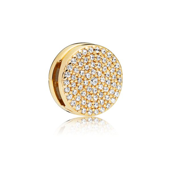 Pandora Shine Reflexions Clip Charm With 69 Pave' Set Clear Cz Sanders Diamond Jewelers Pasadena, MD