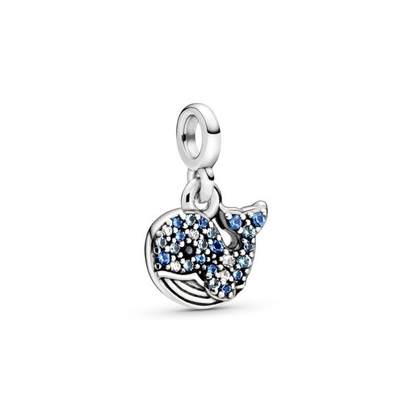 Pandora Me Collection Whale SS dangle with clear CZ, icy blue, stellar blue, skylight blue and black crystal Sanders Diamond Jewelers Pasadena, MD