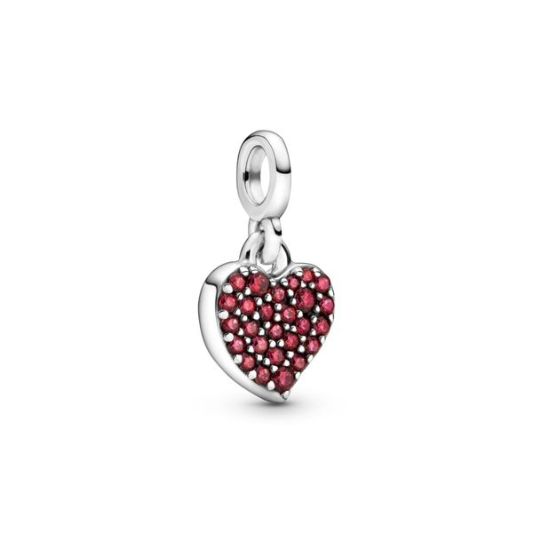 Pandora Me Collection Heart sterling silver dangle with red CZ Sanders Diamond Jewelers Pasadena, MD