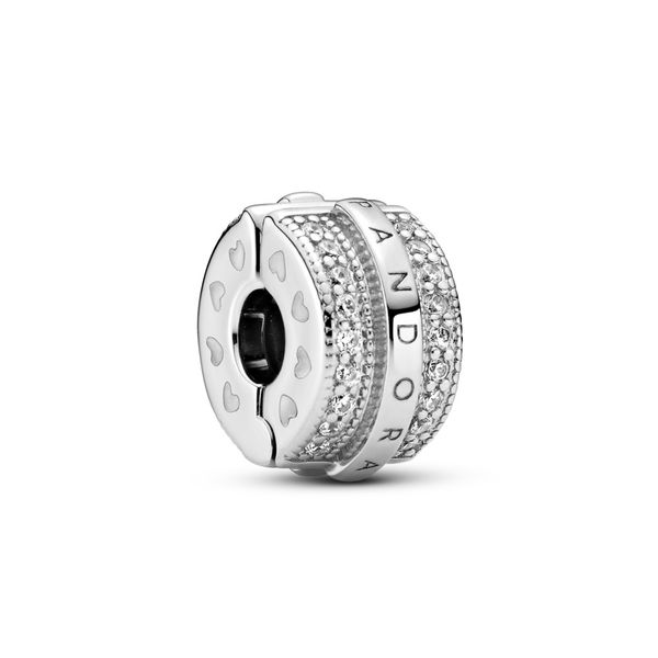Pandora Signature sterling silver clip with clear CZ Sanders Diamond Jewelers Pasadena, MD