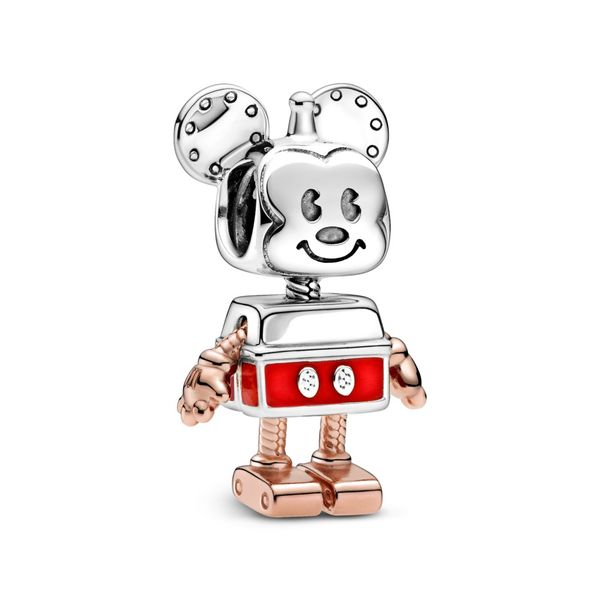 Pandora Disney Mickey robot sterling silver and Rose charm with red enamel Sanders Diamond Jewelers Pasadena, MD