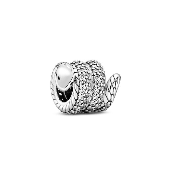 Pandora Snake sterling silver charm with clear CZ Sanders Diamond Jewelers Pasadena, MD