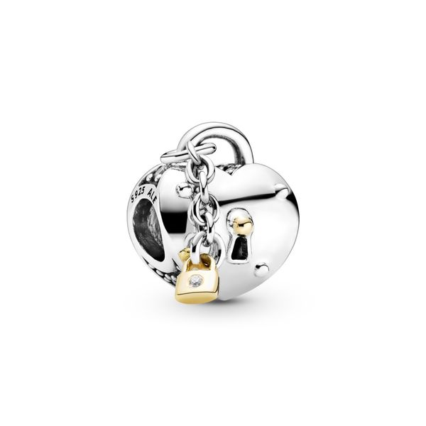 Pandora Heart padlock sterling silver and 14k charm Sanders Diamond Jewelers Pasadena, MD