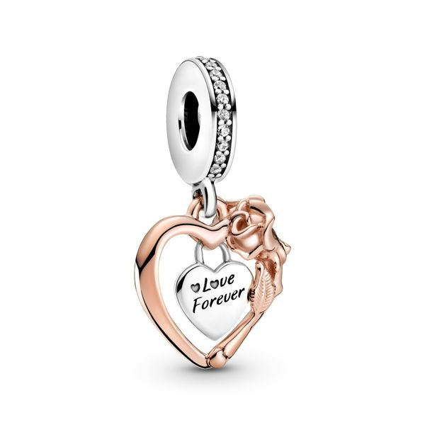 Pandora sterling silver and Rose Heart dangle engraved with