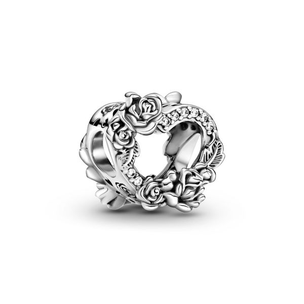 Pandora Heart and roses sterling silver charm for Pandora Moments Bracelet Sanders Diamond Jewelers Pasadena, MD