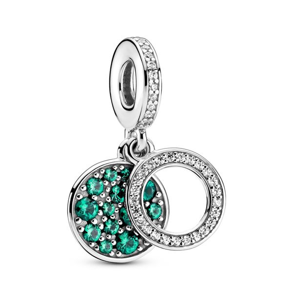 Pandora Circle and disc sterling silver dangle with clear and forest green cubic zirconia for Pandora Moments Bracelet Sanders Diamond Jewelers Pasadena, MD