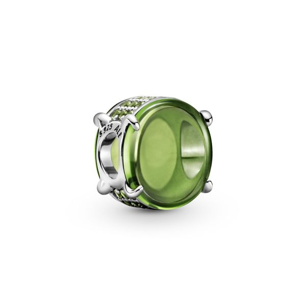Pandora Sterling silver charm with light green cubic zirconia for Pandora Moments Bracelet Sanders Diamond Jewelers Pasadena, MD