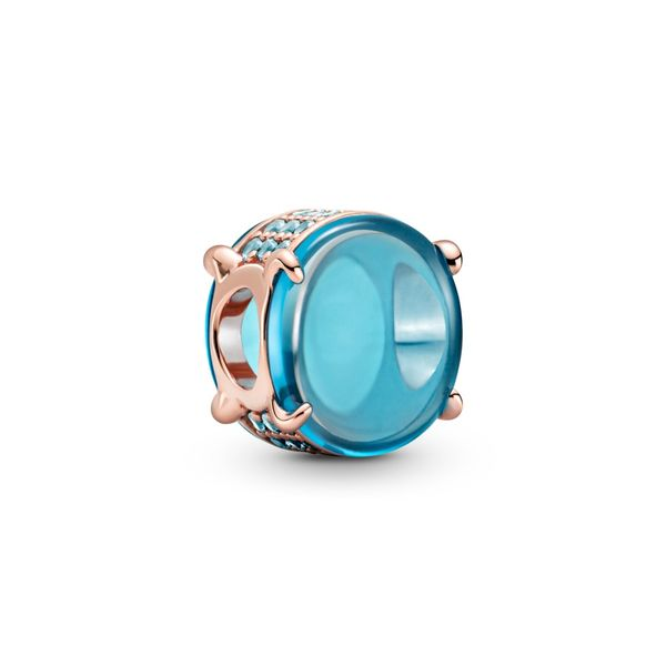 Pandora Rose charm with icy blue and water for Pandora Moments Bracelet Sanders Diamond Jewelers Pasadena, MD
