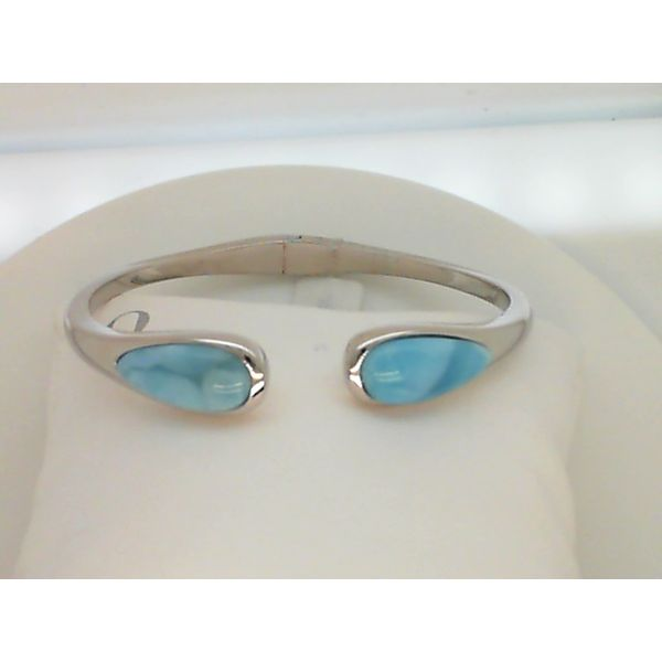 Sterling Silver Larimar Bangle Bracelet By Alamea Sanders Diamond Jewelers Pasadena, MD