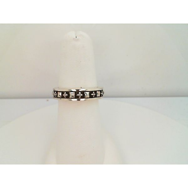 STERLING SILVER STACKABLE STUDDED RING W/ Maltese CROSSES SIZE 7 Sanders Diamond Jewelers Pasadena, MD