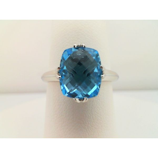 Sterling Silver Swiss Blue Topaz Checkered Board Cut Cushion Ring Sanders Diamond Jewelers Pasadena, MD