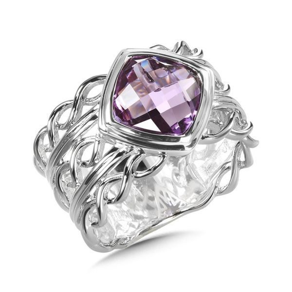 Sterling Silver Amethyst Checkered Board Cut Cushion Ring Sanders Diamond Jewelers Pasadena, MD