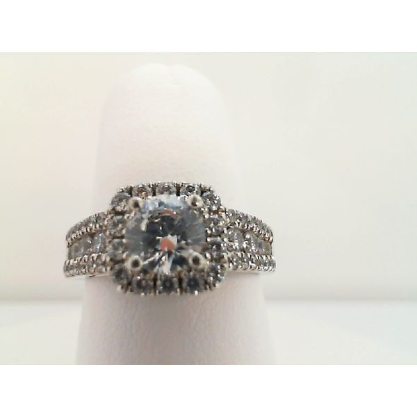 Sterling Silver Cubic Zirconia Halo Engagement Ring Sanders Diamond Jewelers Pasadena, MD