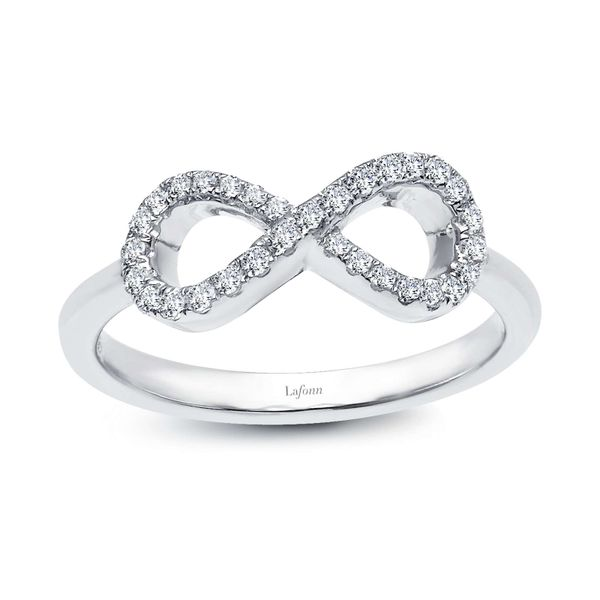 INFINITY RING IS SET WITH LAFONN'S SIGNATURE LASSAIRE STONES  IN STERLING SILVER BONDED WITH PLATINUM. Sanders Diamond Jewelers Pasadena, MD