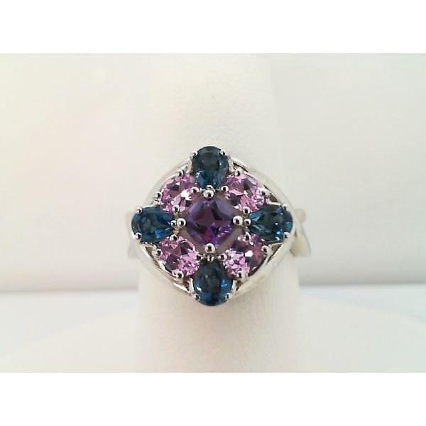 Sterling Silver London Blue Topaz With Amethyst and Created Pink Sapphire Ring Sanders Diamond Jewelers Pasadena, MD