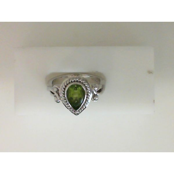 Sterling Silver Pear Shaped Peridot Ring Sanders Diamond Jewelers Pasadena, MD