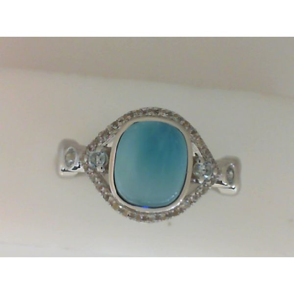 Sterling Silver Cubic Zirconia and Larimar Ring Sanders Diamond Jewelers Pasadena, MD