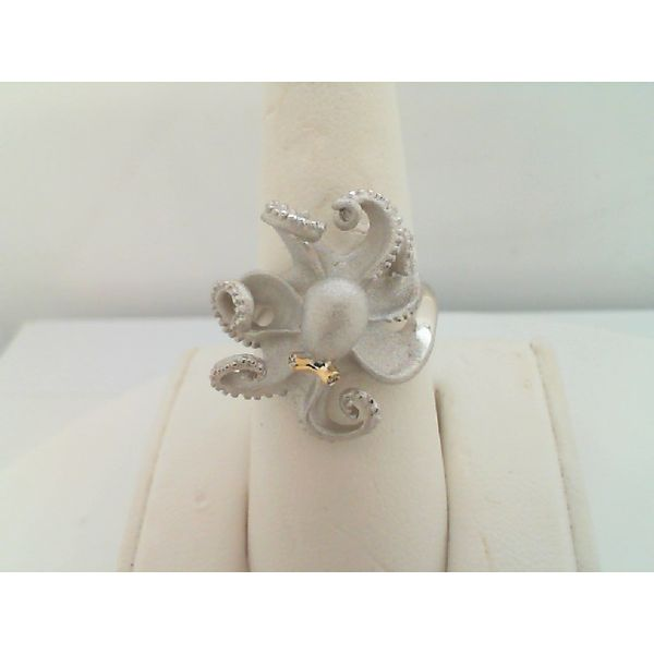 PRECIOUS STERLING SILVER .01CTDW 18KT. YELLOW GOLD 21MM OCTOPUS RING BY DENNY WONG Sanders Diamond Jewelers Pasadena, MD