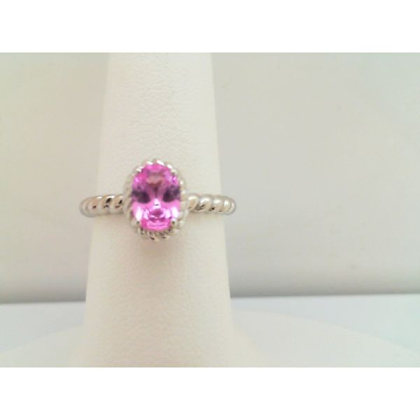 STERLING SILVER  OVAL CREATED PINK SAPPHIRE RING BY COLORE' Sanders Diamond Jewelers Pasadena, MD