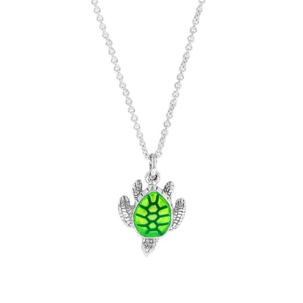 STERLING SILVER GREEN ENAMEL TURTLE W/CHAIN PENDANT Sanders Diamond Jewelers Pasadena, MD