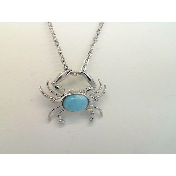 Sterling Silver Larimar and Cubic Zirconia Crab Pendant Sanders Diamond Jewelers Pasadena, MD