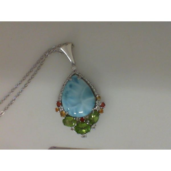 Sterling Silver Larimar Multi Color Pendant Sanders Diamond Jewelers Pasadena, MD