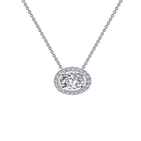 HALO NECKLACE FEATURES LAFONN'S SIGNATURE LASSAIRE OVAL AND ROUND STONES IN STERLING SILVER BONDED WITH PLATINUM. Sanders Diamond Jewelers Pasadena, MD
