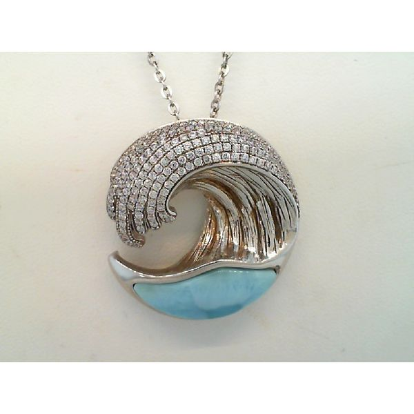 Sterling Silver Larimar and Cubic Zirconia Wave Pendant Sanders Diamond Jewelers Pasadena, MD