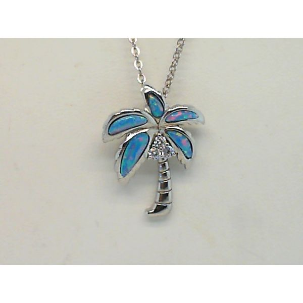 Sterling Silver Simulated Opal And Cubic Zirconia Palm Tree Pendant Sanders Diamond Jewelers Pasadena, MD
