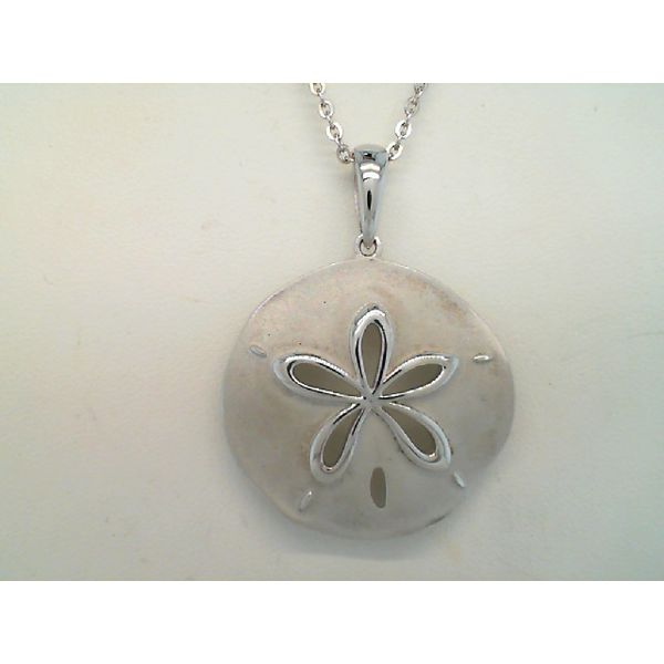 Sterling Silver Large Sand Dollar Pendant Sanders Diamond Jewelers Pasadena, MD