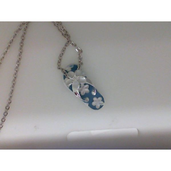 Sterling Silver Blue Enamel Plumeria Beach Slipper Pendant Sanders Diamond Jewelers Pasadena, MD