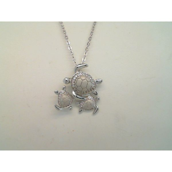 Sterlight Silver Cubic Zirconia Three Turtle Pendant Sanders Diamond Jewelers Pasadena, MD