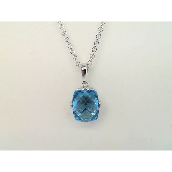Sterling Silver Swiss Blue Topaz Cushion Cut Necklace Sanders Diamond Jewelers Pasadena, MD
