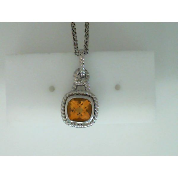 Sterling Silver Cushion Cut Genuine Citrine Necklace Sanders Diamond Jewelers Pasadena, MD