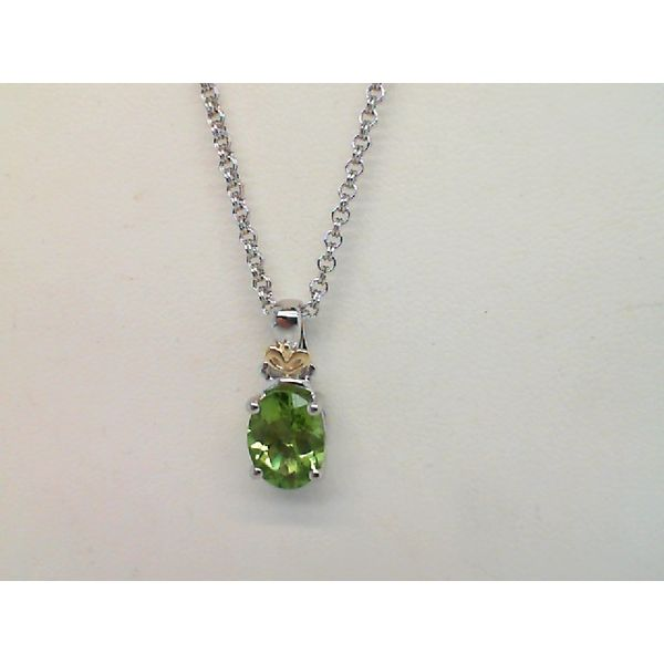 Sterling Silver and 18kt Yellow Gold Oval Faceted Peridot Necklace Sanders Diamond Jewelers Pasadena, MD